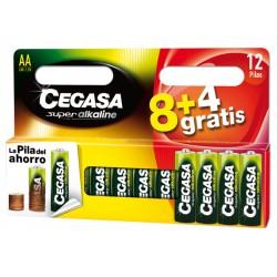 Pila alcalina LR06 AA set 8+4 CEGASA, 106709