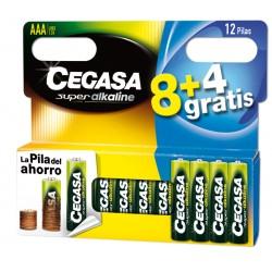 Pila alcalina LR03 AA set 8+4 CEGASA, 106710